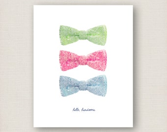 Hello, Handsome bow ties - Boy Nursery 8 x 10 print