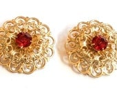 Filigree Scatter Pins, Red Rhinestone, Vintage Jewelry, Gift for Her VALENTINE SALE