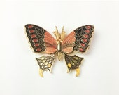 Enamel Butterfly Brooch, Red with Black, Spanish 1950s Vintage Jewelry, Gift for Her VALENTINE SALE