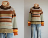 Vintage 70s Striped Sweater /  1970s Cowl Neck Drawstring Pullover Top / Bold Stripe Turtleneck Sweater