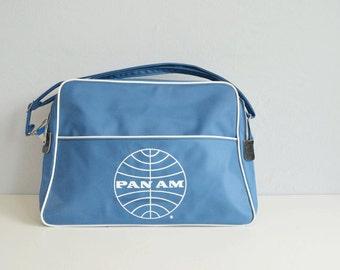 Vintage 60s Pan Am Flight Bag / 1960s Carry On Travel Bag Adjustable Strap / Travel Shoulder Bag Tote