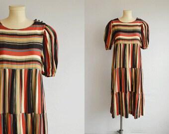 Vintage 1970s Dress / 70s Tiered Striped Guaze Boho Dress / Vintage Swing Dress