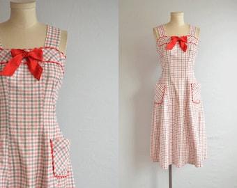 Vintage 30s Dress/ 1930s Check Plaid Print Button Back Sundress with Rick Rack / Summer Housedress