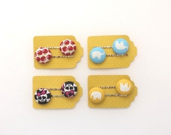 SHOP CLOSING SALE  Set of Four Cute little Red Apple fabric button bobby pin - Elephant Bobby Pin - Skull Bobby Pin - Girls Hair Pin