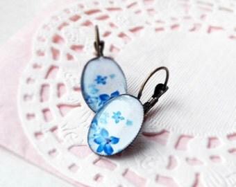Romantic blue earrings - blue flowesr earrings
