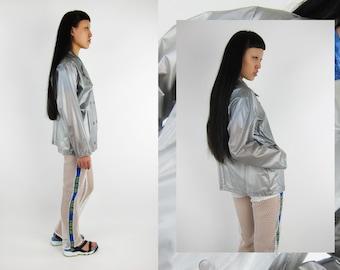Vintage Vinyl PVC Metallic Silver Jacket