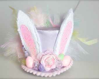 Over the Top Easter Bunny Ears Mini Top Hat Headband (or fascinator) - Perfect Newborn Spring or Easter Photo Prop