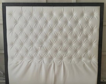 Diamond Tufted Faux Leather Headboard with Wood Border (King, Extra Tall)