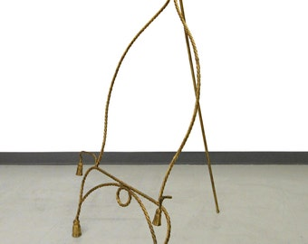 Mid Century Italian Gold Gilt Metal Rope and Tassle Easel