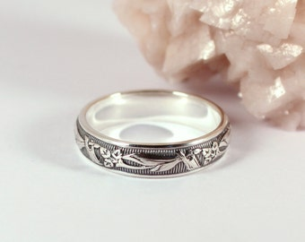 Calla Lily Floral Patterned Silver Band Ring, Sterling Silver, Made to Order