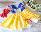 Snow White Inspired Birthday Dress with Vintage Knotted Headband - Snow White Halloween Costume
