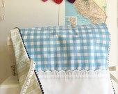 Blue + White Checkered  Vintage Pillowcase Sewing Machine Cover/ Dust Cover with Black Poms + Ties