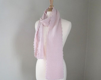 Alpaca Scarf with Scallops, Pale Pink, Long Wrap, Light Weight, Stretchy Drapey, Knitted Luxury Natural Fiber