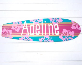 Custom Beach Themed Surfboard Sign for your Girls Bedroom Decor - Large 36 inch