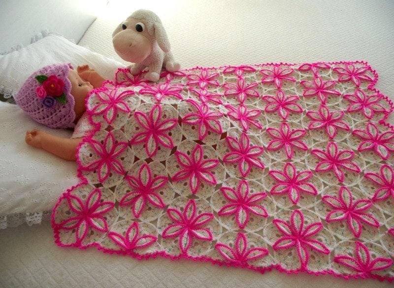 Crochet Baby Blanket Patterns On Etsy : Crochet blanket pattern BABY BLANKET Crochet Pattern flowers