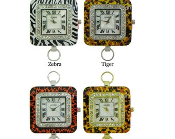 Geneva Animal Print Square Beading Watch Face with Loops