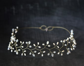 14_Gold headpiece, Crystal diadem, White Pearl tiara, Wedding diadem, Bridal headpieces, Diadem, Hair accessories, Hair vine, Greece halo.