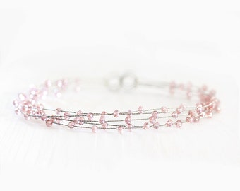 40_Bridal halo, Pink crystal halo, Wedding halo, Peachy hair accessories,Transparent crystal halo,Bridal hair accessories,Glass crystal halo