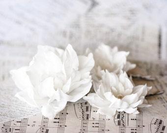 417_White bridal flowers, Wedding hair accessories, Floral barrettes, Barretes for bride, Bridesmaid hair accessories, Flower barretes, Clip