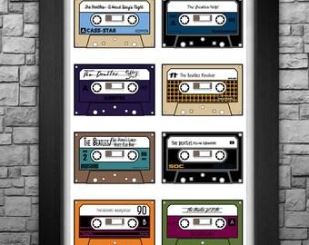 "THE BEATLES ""Cassette Catalog"" limited edition 11x17"" art print."