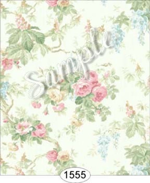 Bliss Dollhouse Wallpaper: Dollhouse Miniature Romantic Shabby Chic Floral Wallpaper
