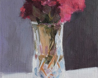 Floral Still Life Painting Chrysanthemum in vase Original Oil Painting on Flat 8x10 inch wood panel, not framed, Canadian fine Art
