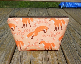 Extra Small Makeup Bag, Foxes on Orange, One of a Kind