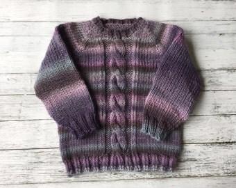 hand knit child sweater size 2