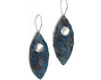 Dark Copper and Silver Leaf Earrings - Aged Copper Earrings - Hammered Copper Leaves Earrings - Hammered Drops - Long Dangle Earrings - Dark
