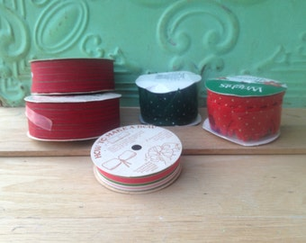 Mixed Lot Vintage Christmas Ribbon, Vintage Christmas Crafting Supplies, Vintage Rolls of Christmas Ribbons