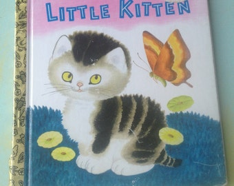 The Shy Little Kitten Vintage Little Golden Book, Vintage Paper Ephemera-Book Pages, Vintage Crafting Supplies