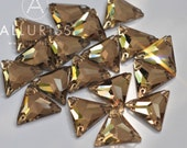 16mm, 18pcs, Topaz Crystal Triangle, small, Sew on crystal stone flatback