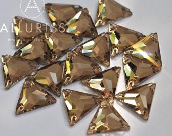 16mm, 18pcs, Topaz Crystal Triangle, small, Sew on crystal stone flatback