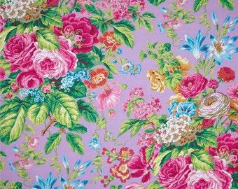 Kaffe Fassett for Rowan Westminster Fibers - Floral Delight - Lavender - 1/2 yard cotton quilt fabric