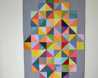 Geometric Quilt, Multicolored Bedding, Geometric Lap Quilt, Modern Quilt, Modern Lap Quilt, Grey Quilt