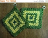 20% Heart Sale 2 Gorgeous Vintage 1960's Hand Crocheted Kitchen Potholders Green & Yellow
