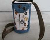 Water Bottle Holder Sling//Walkers Insulated Water Bottle Cross Body Bag// Hikers Water Bag-Blue Jean with Paw Prints Fabric