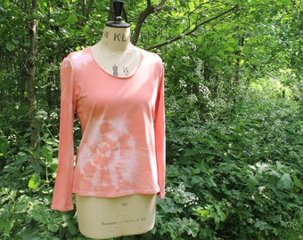 Tie Dye Long Sleeve Top in Salmon Pink, Custom Hand-Dyed Cotton T Shirt, Boho Hippie Festival Hipster Top.  Size L