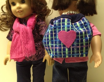 American Girl or other 18 inch doll backpack and scarf accessory set in pink and blue. Accessories for 18 inch AG dolls.