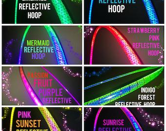 "Color Morph Reflective HDPE or Polypro 5/8"" 3/4"" 11/16"" Dance & Exercise Hula Hoop NOT an LED hoop mermaid rainbow sunrise sunset rasta ruby"