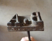 Leather Tooling Stamp / Branding Iron French Antique Monogram / Initials B . A