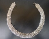 Solid Silver Indian Wide Chain Necklace Collar Choker with Intricate Detail and Flexible Mesh Ethnic Jewelry Vintage or Antique Hand Made