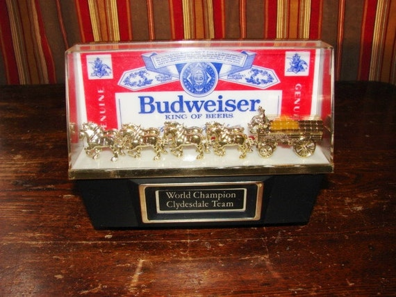 Vintage Budweiser Beer Clydesdale Electric Bar Light Sign Lamp