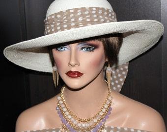 Pretty woman hat style. Summer hat/Kentucky derby hat/Church hat/Panama straw hat  - Ivory