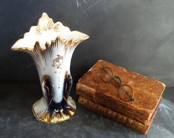 Antique French Porcelain Vase,  Hand painted Napoleon III Paris porcelain bride vase.Wedding vase