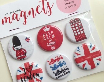 I Love London, ceramic fridge magnets, set of 6