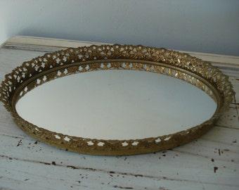 Vintage Vanity Tray/Gold Vanity Tray/Mirror Vanity Tray/Oval Vanity Tray