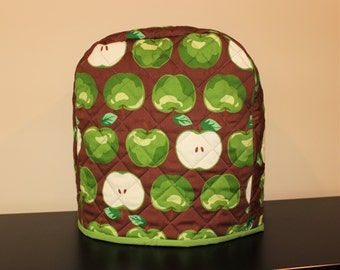 6 quart - Quilted Mixer Cover for Kitchen-Aid - Brown and Green Apple - Kitchen Wedding Shower Christmas Gift
