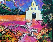 SALE Halloween art dogs of Day of Dead original painting Dias de Muesrtos white church and flowers Mexican art wall decor  19.5 x 25.5