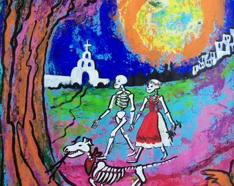 Halloween lovers with dog and Moon Day of Dead original painting Dias de Muesrtos Mexican art wall decor  19.5 x 25.5